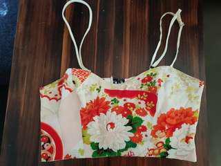 Lucy hope crop kimono print