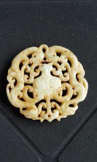 Longevity Yellow Jade Carved Pendant