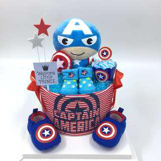 Captain America Baby Diapers Cake