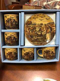 🚚 日本製古董米勒陶瓷杯盤組禮盒五入