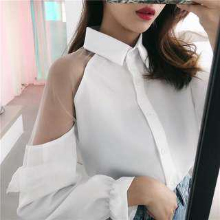 White Long Blouse ( shoulder transparent )