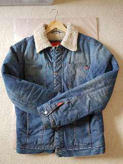 Mossimo Sherpa Jacket denim jacket with wool collar Size M