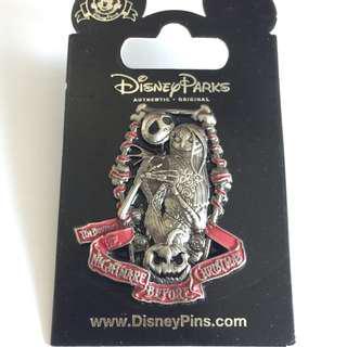 美國迪士尼Disney  Nightmare Before Christmas 怪誔城之夜 Jack & Sally 傑克  pin 徽章 襟章