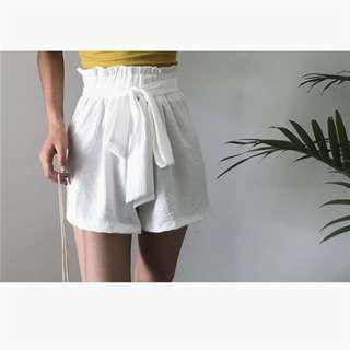 夏季韓版女裝寬松顯瘦松緊腰短褲女百搭純色休閑褲學生高腰闊腿褲
