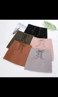 #1212 Brown Suede Lace Up Skirt