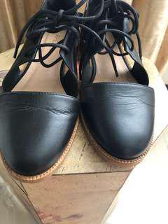 🚚 降價~繫帶全皮平底鞋 尺寸38