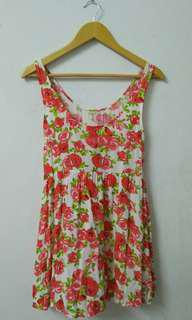H&M Pink Roses Mini Sleeveless Dress #OCT10