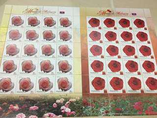 Collection Stamps Sheet-2003 Roses in Malaysia x2