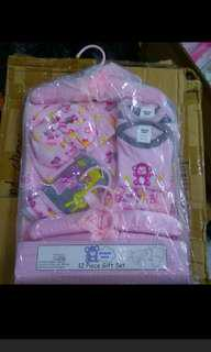 Infant full moon baby shower gift pack. 12 piece set of cap, mittens etc sale clearance