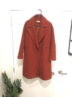 Burgundy wool coat size M