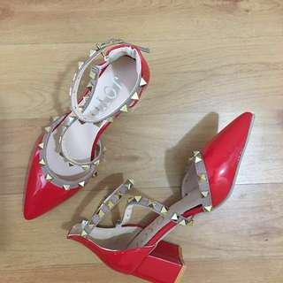 Valentino Inspired Rock Studded Red Heels