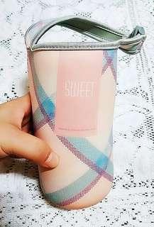 粉紅色格紋 水壺 杯套 包底式(全新)