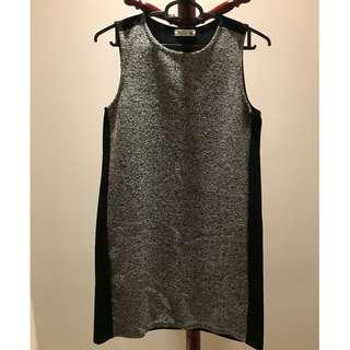 Black Shift Dress with Shimmery Front