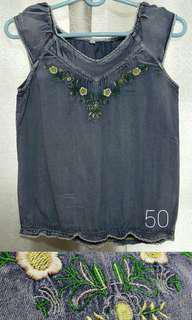 Floral Blouse Denim Blue Top Semi-Sleeveless