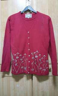 Red Embriodery Sweater Cardigan