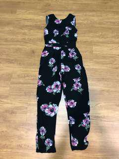 Warehouse black floral jumpsuit