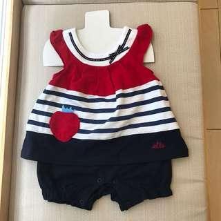 全新ELLE kid海軍風假兩件式褲裝70cm