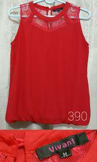 Vivant Red Lace Sleeveless Formal Blouse