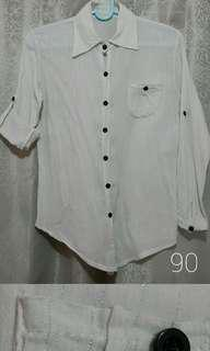 White Blouse Casual Semi-Formal Longsleeves 3/4s