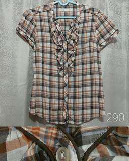 Calypso Checkered Blouse No-collar Ruffles Top