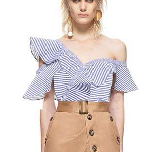 Off shoulder striped ruffled top
