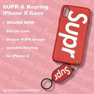 BNIP Supr iPhone X Case with Keyring (RED)(TEXTURED FINISH)