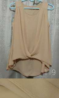 Nude Blouse Sleeveless Skintone Formal Beige Top