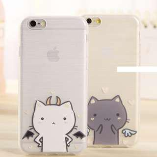 Angel & Devil Cat Couple Iphone 6/6+/7/7+/8/8+ Mobile Casing
