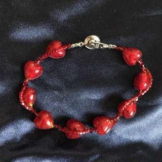 🚚 日本工匠紅色愛心琉璃銀絲手鍊