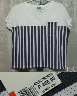 Kashieca Blouse White Stripes Perforated Loose Shirt