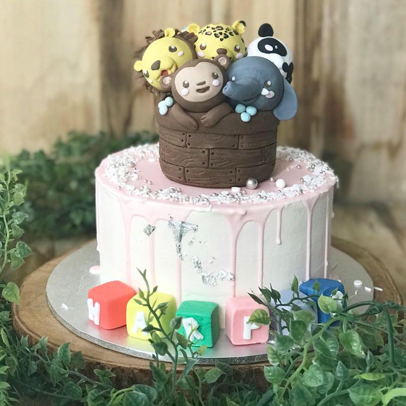 Astonishing Animal Themed Cake 1St Birthday Cake Kids Birthday Cake Free Funny Birthday Cards Online Alyptdamsfinfo