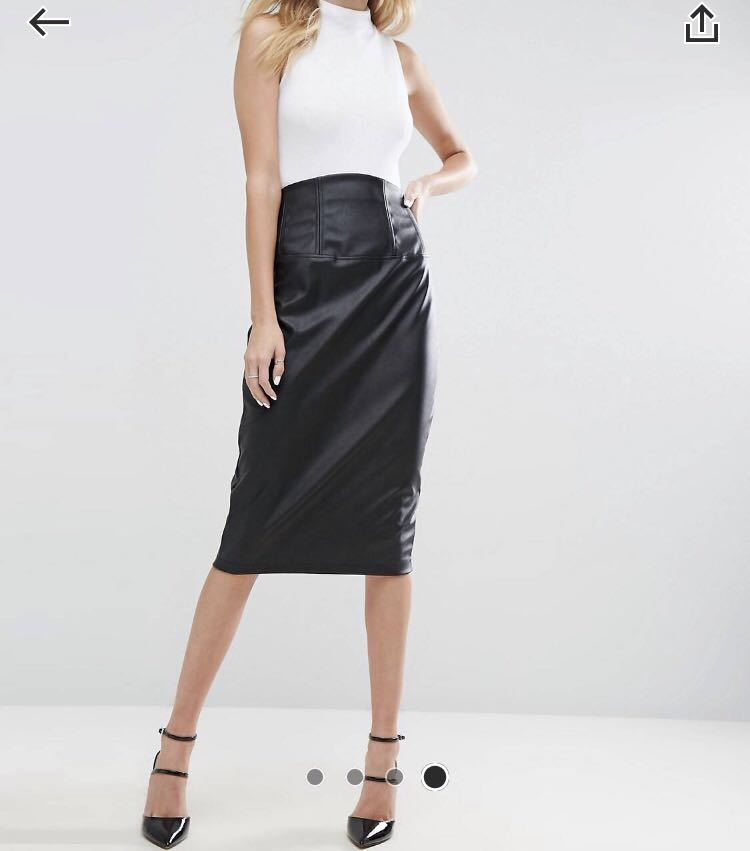 7e8360de5054 Asos Sculpt Me Leather Look High Waist Pencil Skirt, Women's Fashion ...