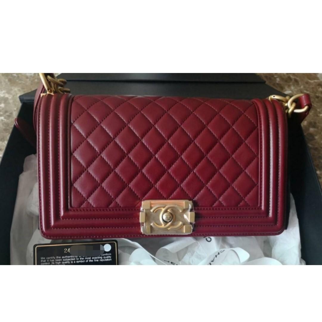 d827cc6f505c Authentic Chanel Boy Medium Burgundy, Luxury, Bags & Wallets on Carousell