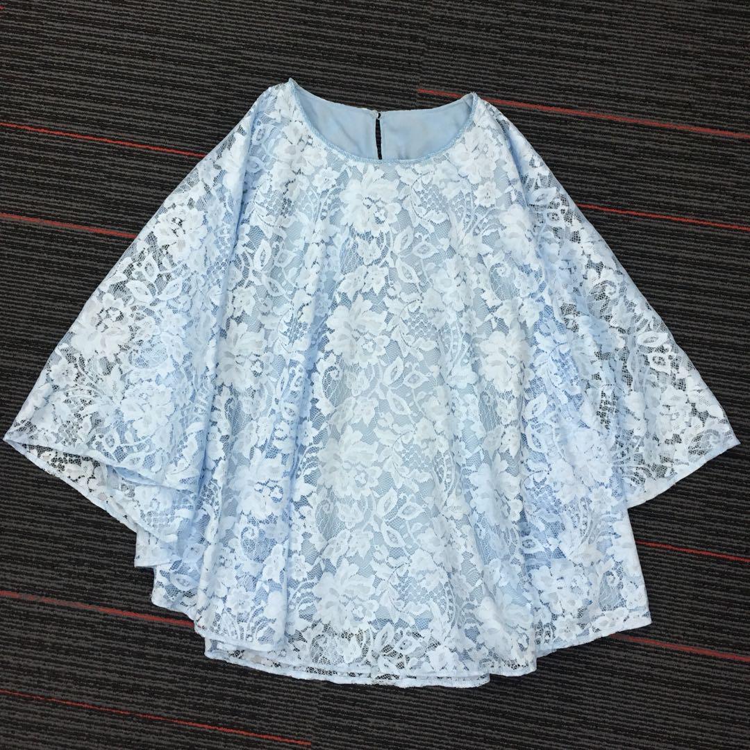 Baju Kelelawar Brokat Biru Muda Mauiphonex Fesyen Wanita Pakaian Wanita Gaun Rok Di Carousell