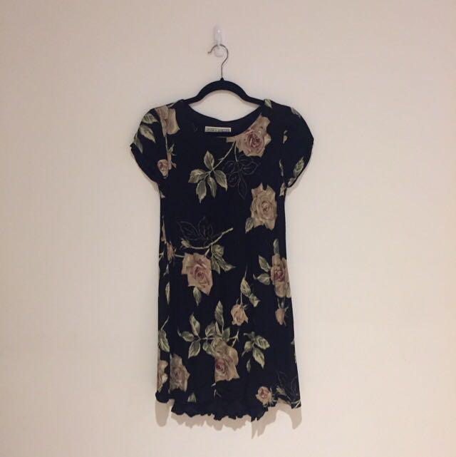 Black Floral Dress - Small