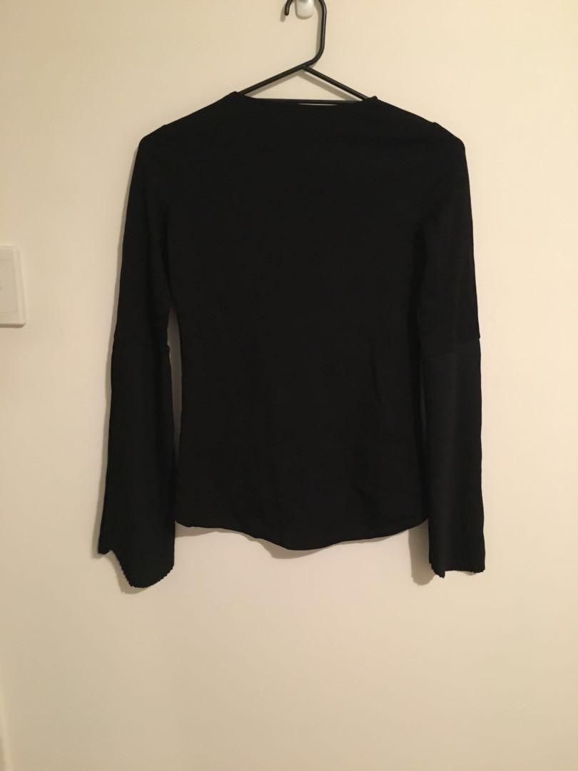 Black longsleeve top with bell pleated Sleeves
