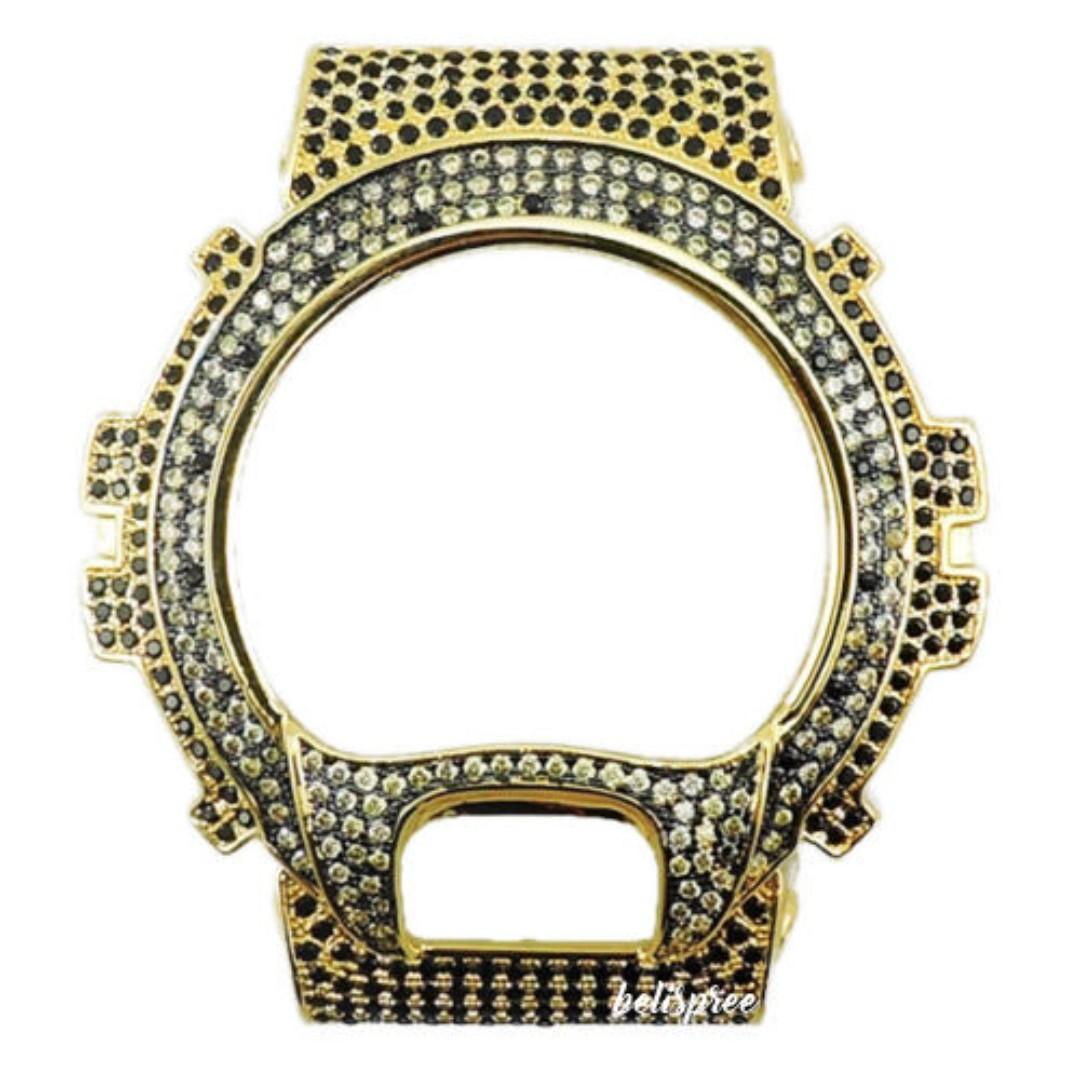c62f70098541 Brand New Casio G-Shock DW-6900 Custom Iced Out Gold Silver Diamonds ...