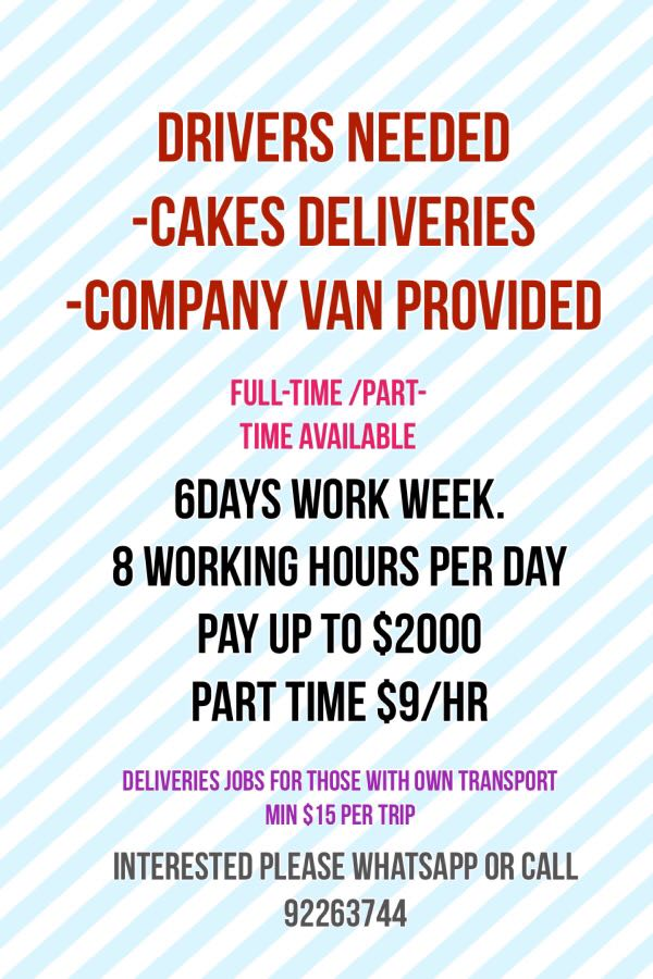 part time van drivers wanted