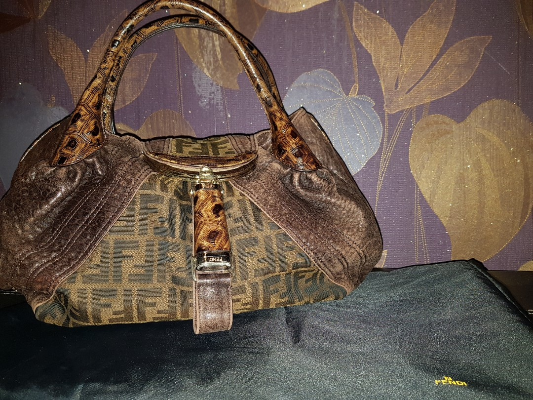 a5572346da5c Authentic Fendi Tobacco Zucca and tortoise leather spy bag