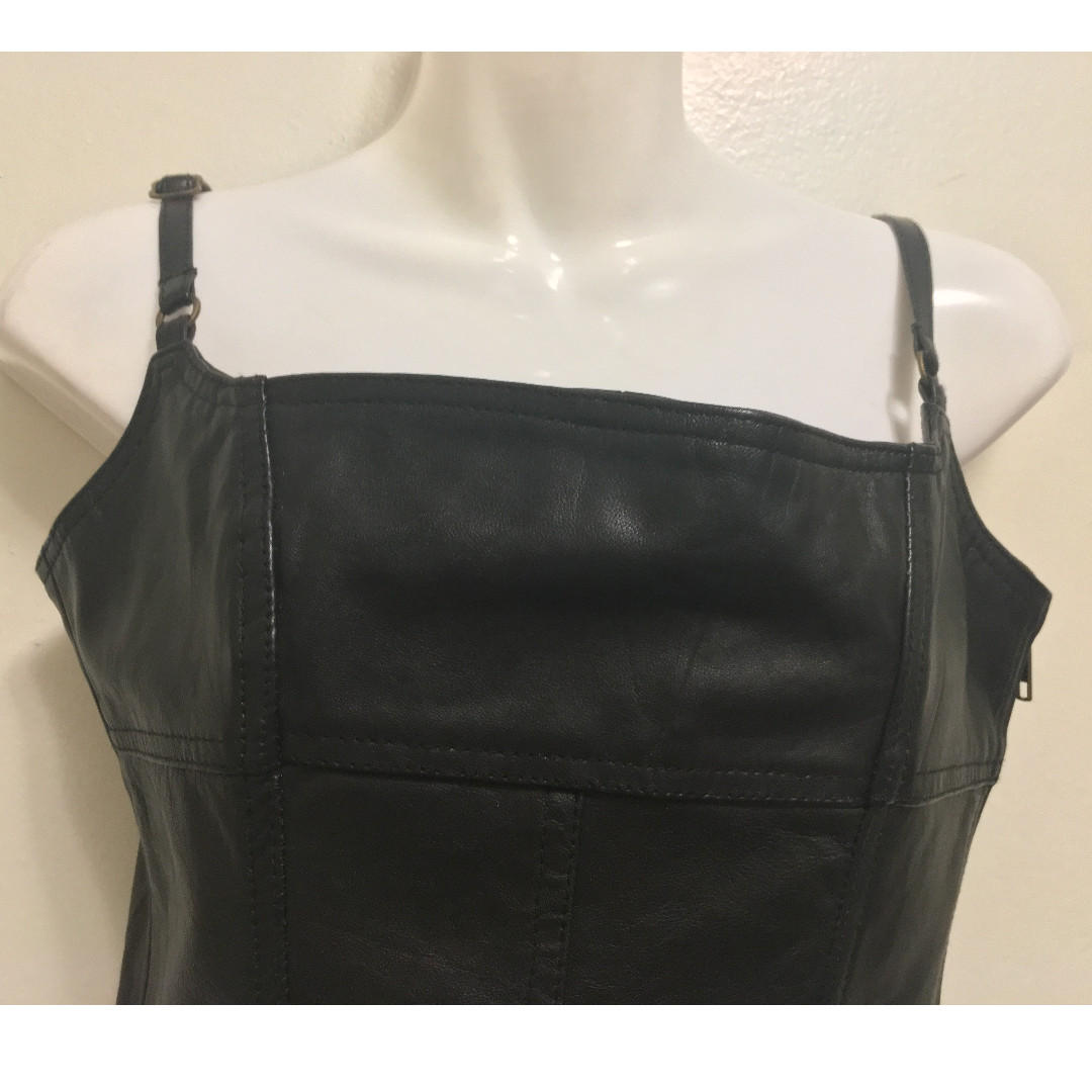 Genuine Leather Cropped Top - Size XS, S