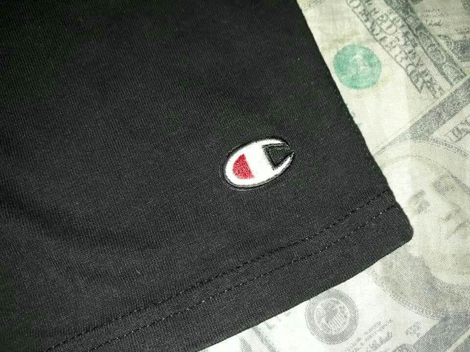 2304b3078253 Mens Champion Black Patch Logo Cotton Shorts