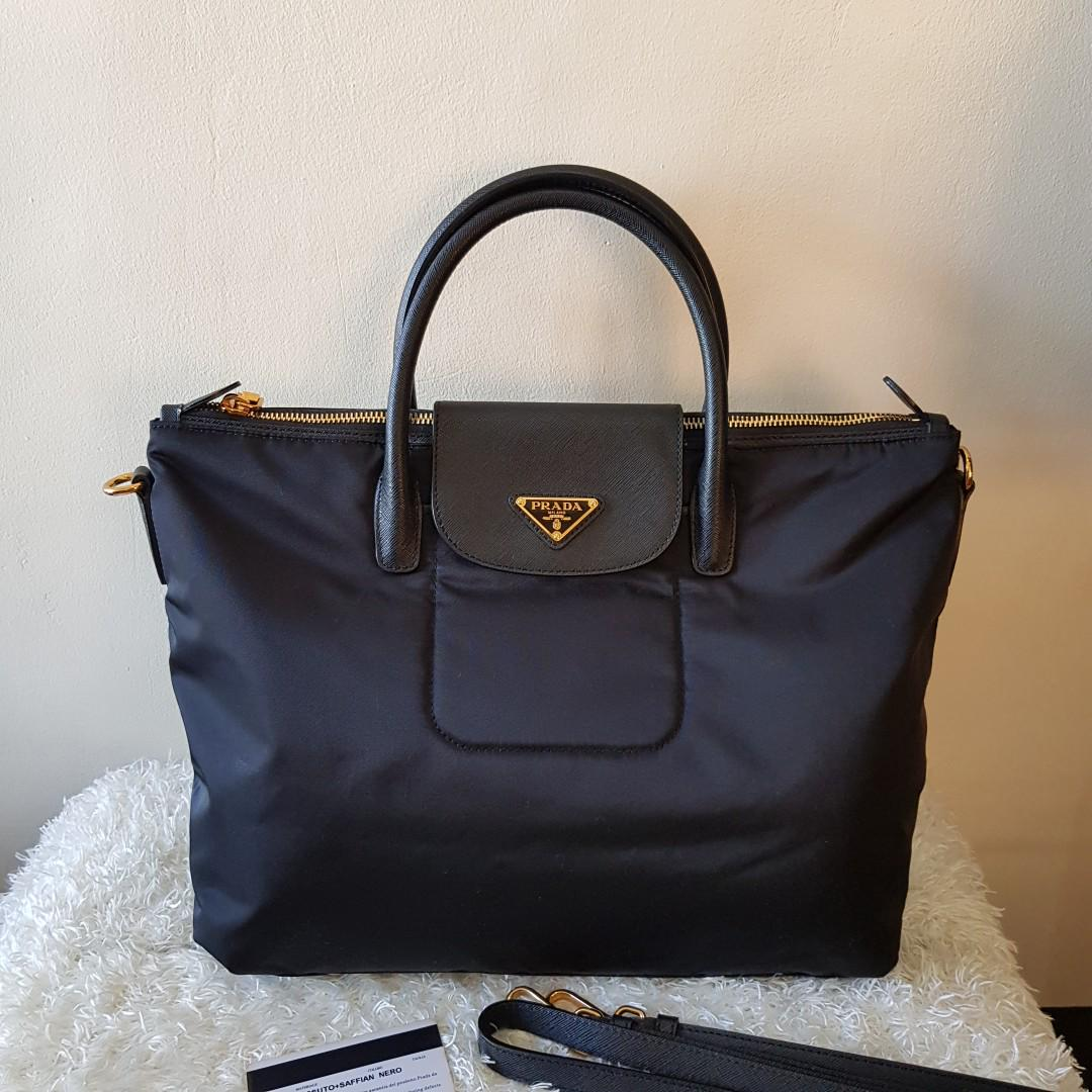 7e5912af3b6d ON HAND: Authentic Prada BN2541 Tessuto Nylon Convertible Tote Bag in Nero  on Carousell