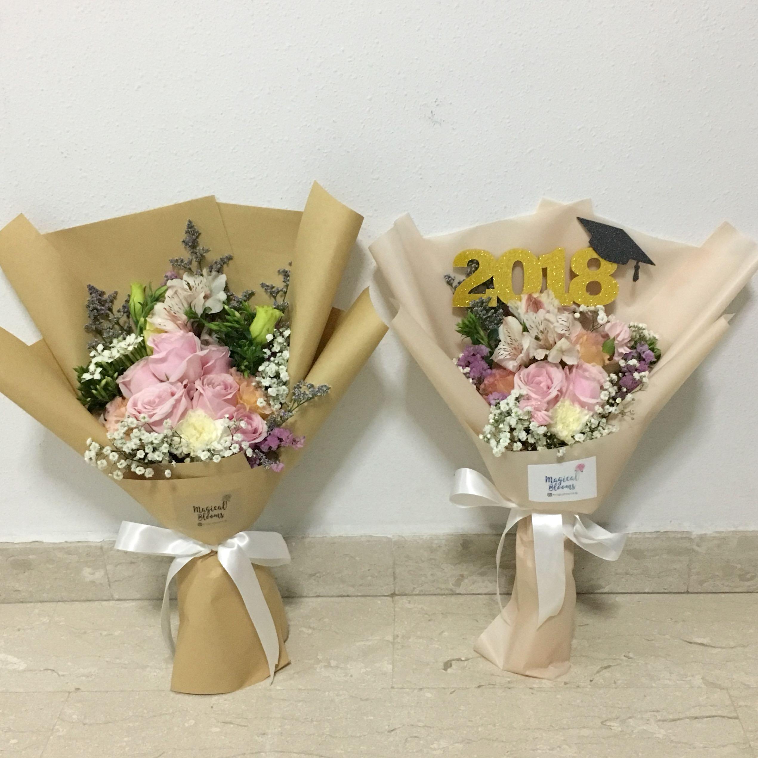 Pastel Rose Bouquet With Baby Breath Birthday Bouquet Graduation