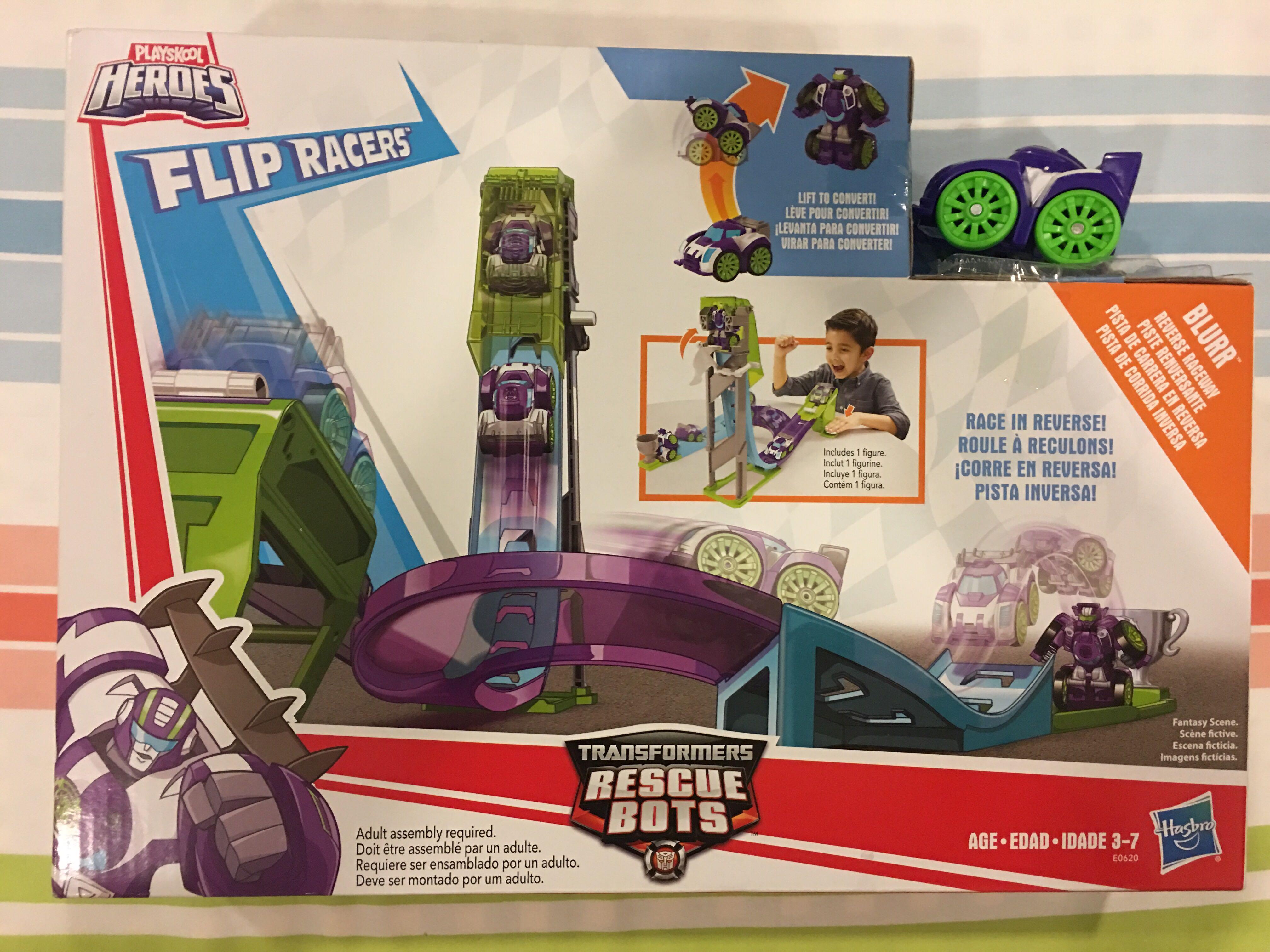 Free Shipping Blurr Playskool Heroes Transformers Rescue Bots Flip Racers
