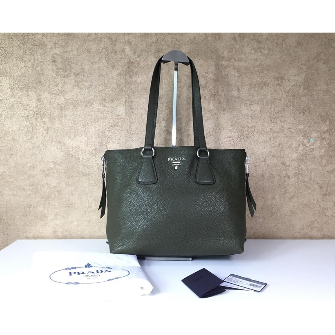 PRADA 1BG099 VITELLO PHENIX CANNELLA SIDE-ZIP TOTE BAG 71595e694932a