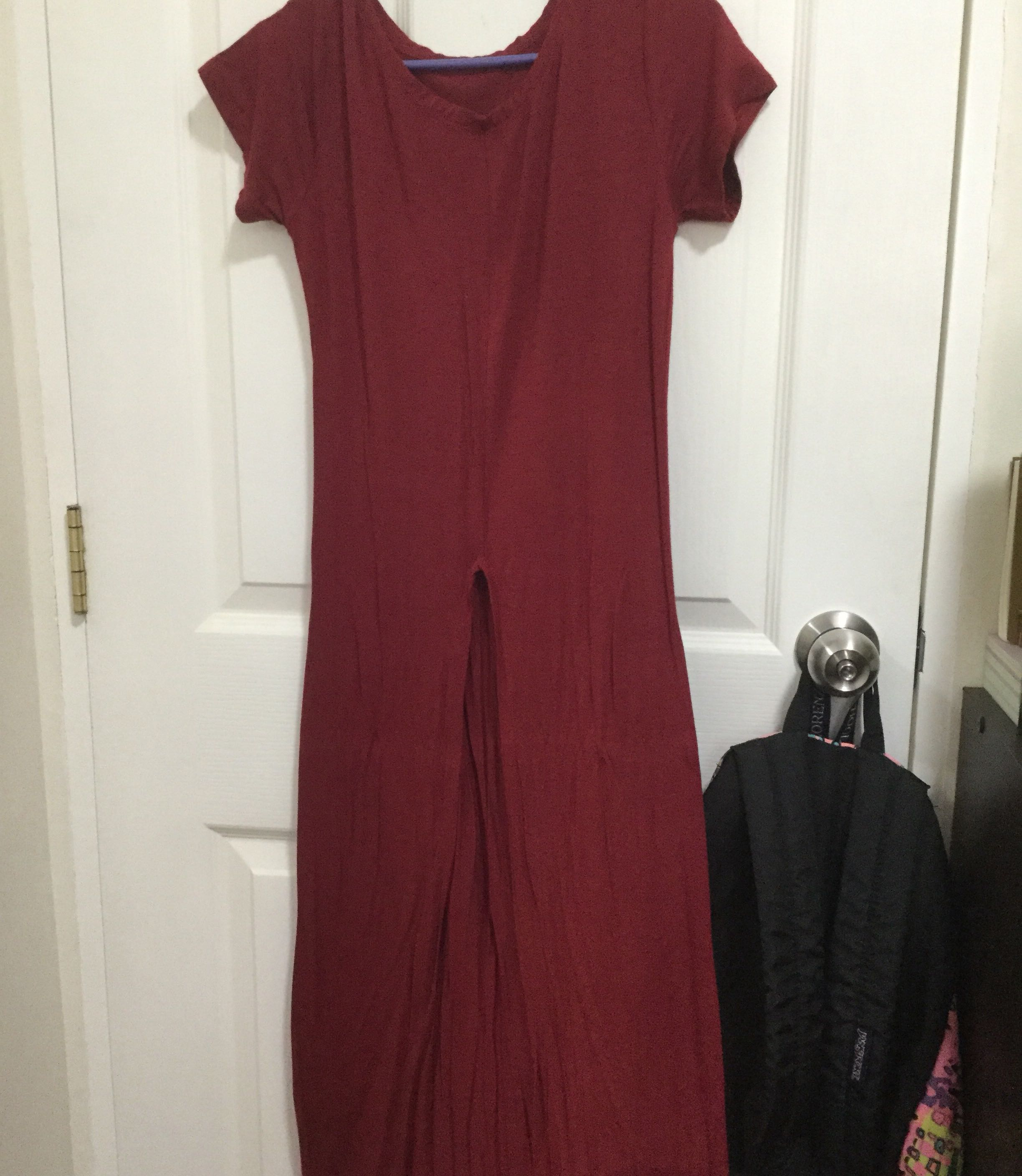 c412194848e Red Dress with Middle Slit