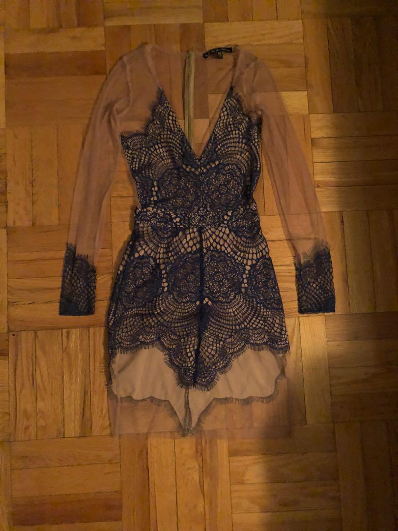 XS For Love & Lemons Antigua Lace Mini Dress