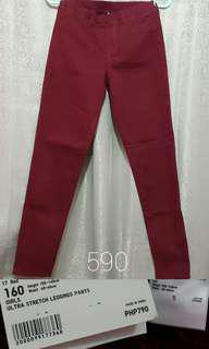 Uniqlo Leggings Pants Ultra Stretch Red Denim Jeggings