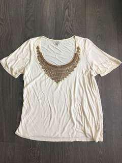 Mendocino Etoile Beaded T Shirt Size Medium Small