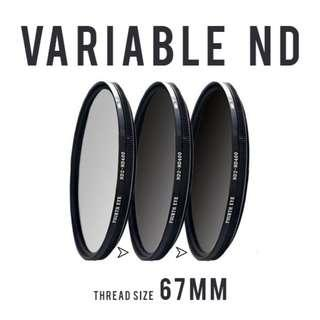 Variable ND filter 67mm (adjustable ND2 to ND400)